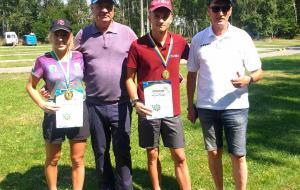 Любовь Кипяченкова и Степан Кинаш на юниорском чемпионате Украины по летнему биатлону